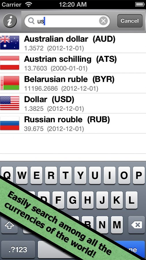 Easily search among all the currencies of the world