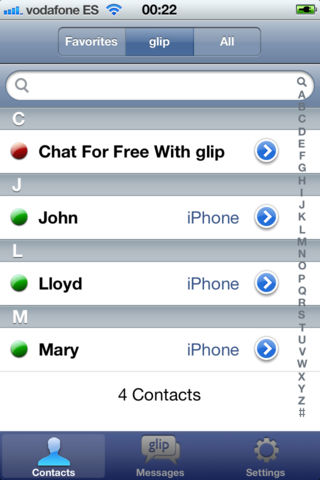µMessage chat - Contacts screen