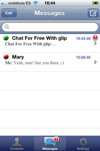 µMessage chat - Chats screen